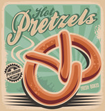 Fototapety Hot pretzels, retro poster design