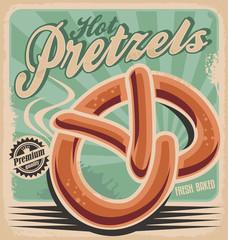 Hot pretzels, retro poster design