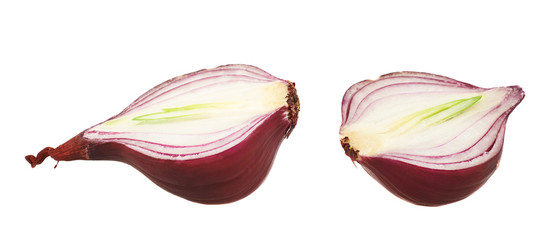 Cut in halves red onion isolated