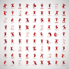 Abstract Human Symbols Set. Success, Celebration