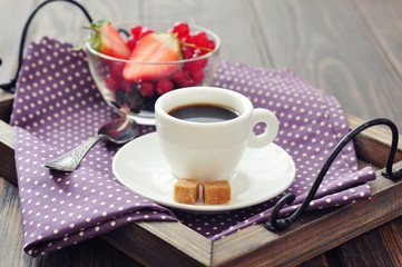 Coffee with fresh berries