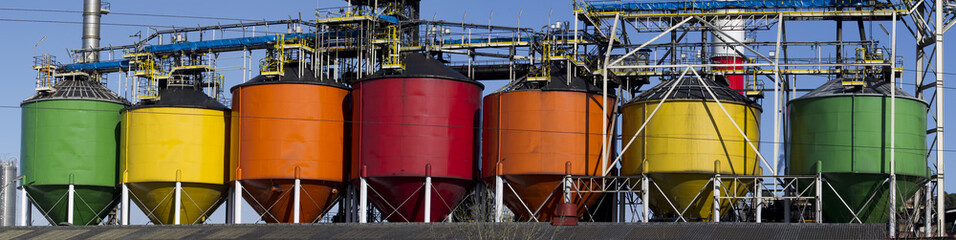 Industrial petro-chemical tanks.Big panorama.