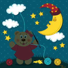 Bear girl embroiders the night sky - vector illustration