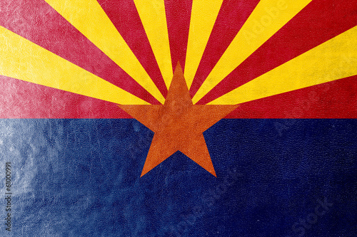 Arizona State Flag painted on leather texture