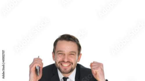 Exuberant businessman celebrating a victory