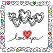 Vector doodle hearts and frame