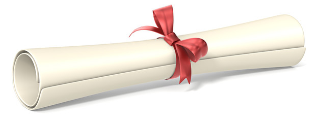 Diploma.Classic diploma roll with red ribbon knot.