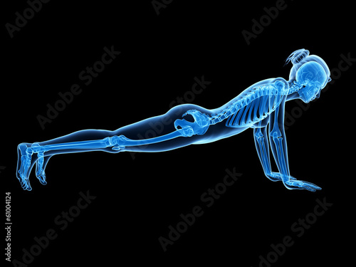 3d rendered illustration - woman doing pushups