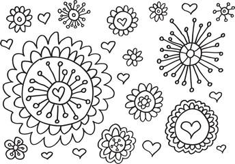 Doodle Easter Flowers Spring Vector Set