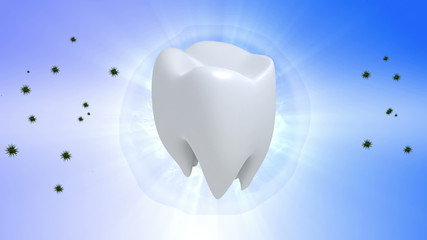 Tooth. Rotate tooth in blue background
