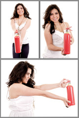 woman holding fire extinguisher set