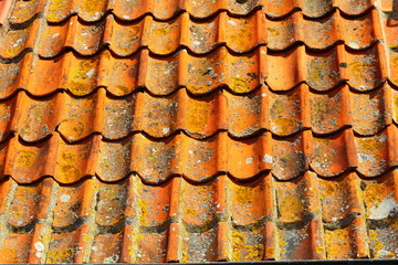 old tiles red roof as background