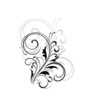 Simple black and white swirling floral element