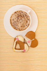 Coffee bikini underwear gingerbread cake cookie on bamboo mat