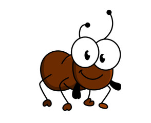 Adorable little brown cartoon ant