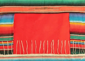 Mexico fiesta poncho rug stripe background with copy space
