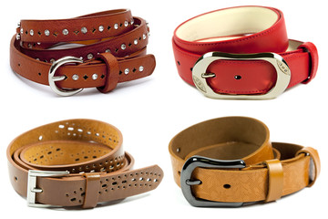 Leather belt of various color on white background.