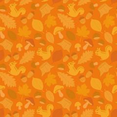 秋 シマリスと落ち葉とキノコの壁紙