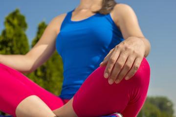Girl practicing yoga and meditation
