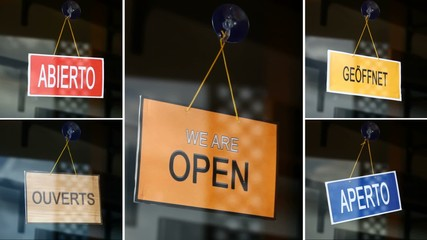 Open and closed signs (5 languages) - Closed to open - compositi