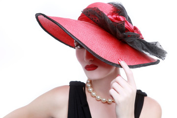 Lady Wearing a Red Hat on White Background