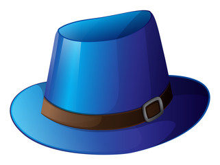 A blue hat with a brown belt