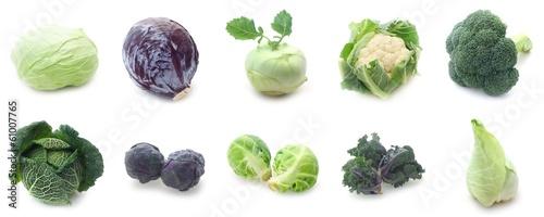 Fotobehang Verse groenten Collage Kohlgemüse