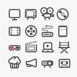 Different video industry icons set with rounded corners. Design