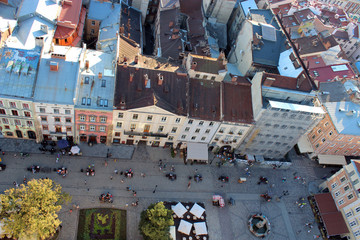 view to the house-tops of Lvov city from bird's-eye view