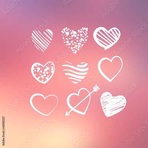 Abstract background with decorative hearts.