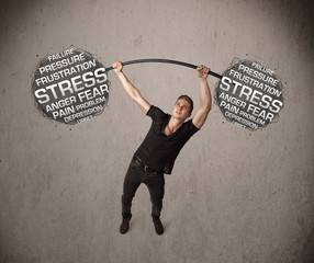 muscular man fighting with stress