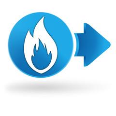 flamme gaz sur symbole web bleu