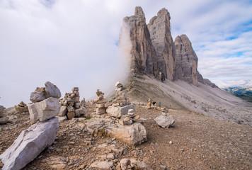 Three Peaks of Lavaredo, Italy. Stynning Mountain landscape
