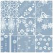 Blue matching drapery patterns set