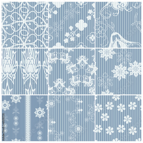 Blue matching drapery patterns set