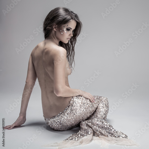 Fashion Fantasy Mermaid. Studio Shot. Gray Background. Poster