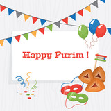 Jewish holiday Purim background. Vector illustration