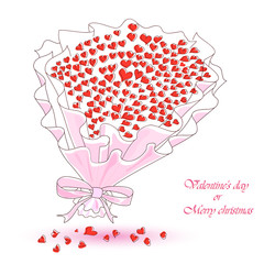artificial bouquet of hearts on a white background.