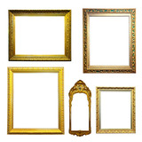 Set of gilded frames. Isolated over white background