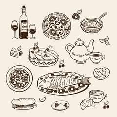 illustration for restaurant and cafe menu