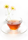 tea in cup with chrysanthemum