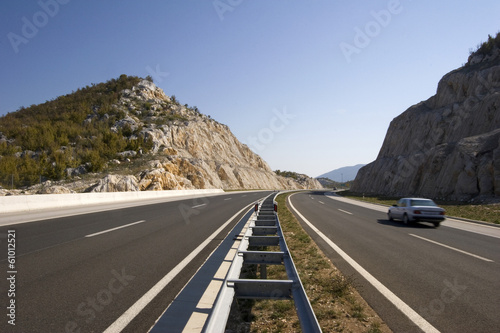 Notch on the highway near town Split in Croatia