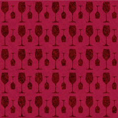 Wine glass pattern background - seamless  wrapping
