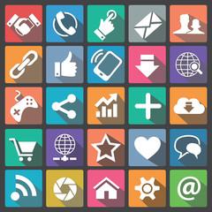 Social icon set flat