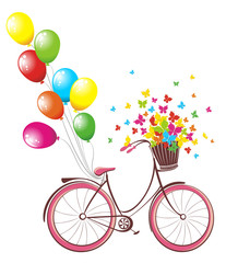 Romantic Birthday card. Bicycle with balloons and basket