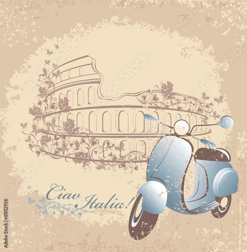 Retro card travel to Italy. Vintage scooter and Coliseum in Rome