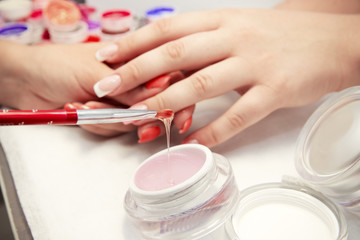 Artificial nails in a beauty salon