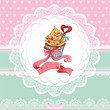 Beautiful Vintage card on Valentine's Day with cupcake