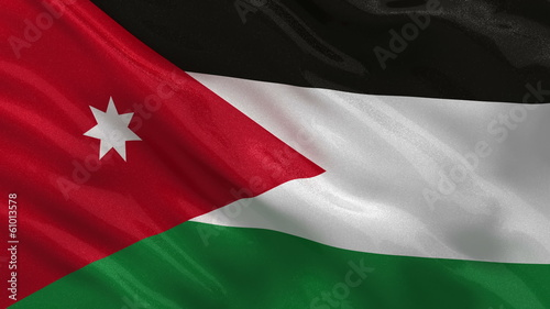 Flag of Jordan waving in the wind - seamless loop