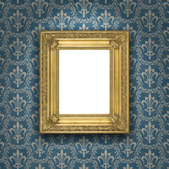 Goldener Bilderrahmen vor blauer Tapete